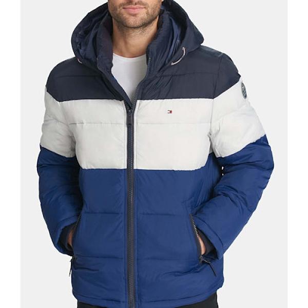 Tommy Hilfiger 男防風防水羽絨重量夾克(藍/白色)