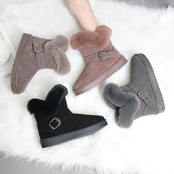 清倉特價 35-42碼 大碼女鞋雪地靴皮毛一體冬季時尚短筒加絨加厚懶人平底靴