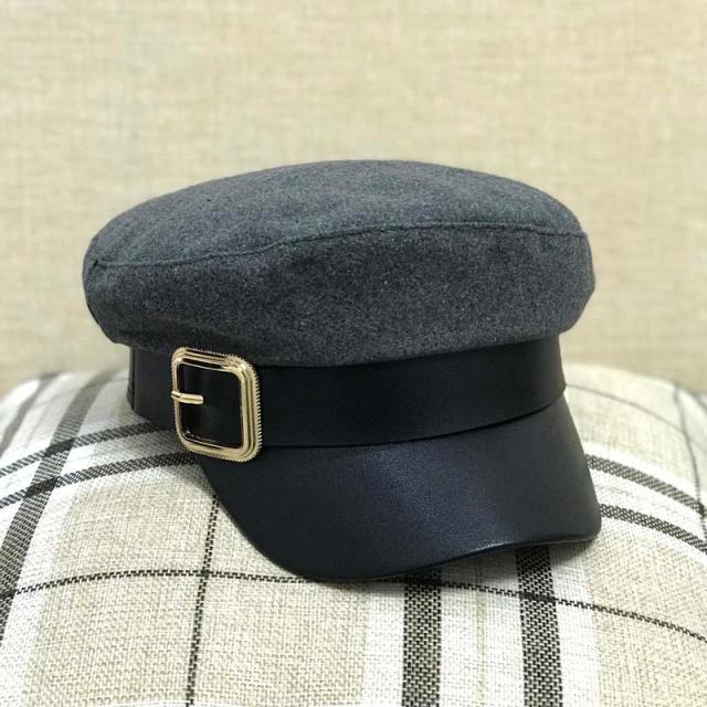 復古貝雷帽女扣子黑色平頂帽秋冬報童帽子韓版日系百搭英倫海軍帽1入
