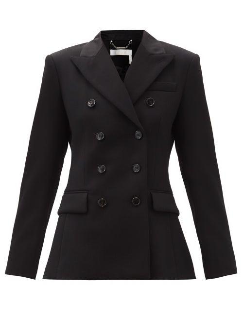 Chloé - Double-breasted Wool Grain De Poudre Jacket - Womens - Black