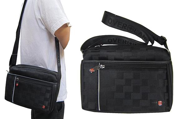 ~雪黛屋~OVER-LAND 肩側包中型容量二層主袋+外袋共五層防水尼龍布+皮革中性款T5330