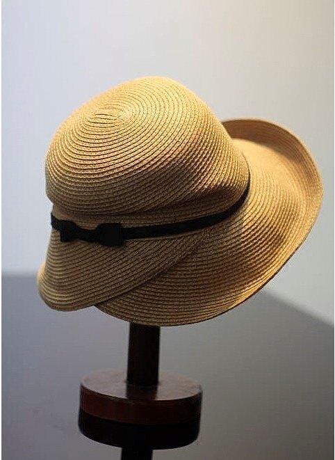 折疊草帽遮陽帽子女夏天沙灘帽馬尾可戴涼帽韓國韓版防紫外線防曬1入