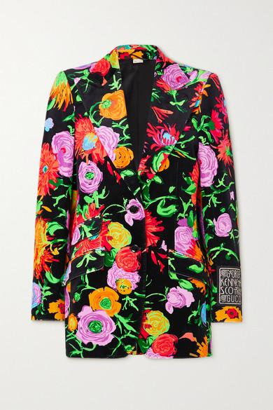 "Gucci - X Ken Scott ""jenni"" 贴花花卉印花天鹅绒西装外套 - 黑色 - IT40"