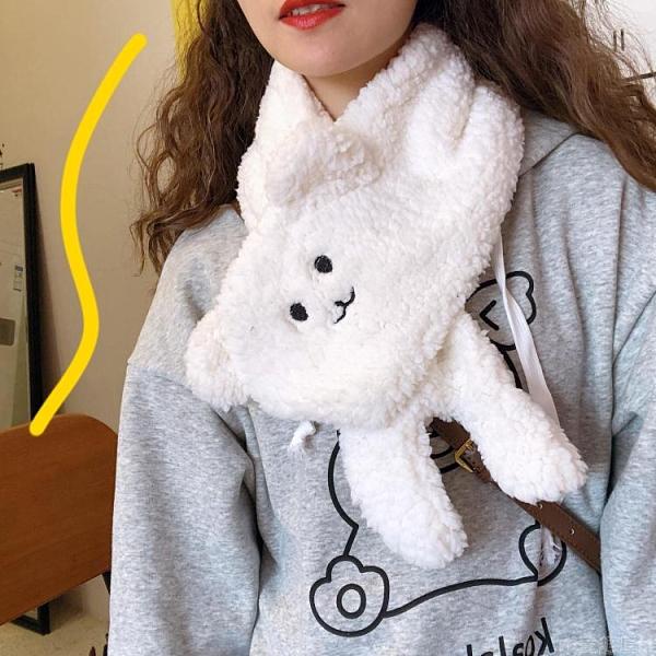 可愛小熊毛茸茸毛絨圍巾女冬季ins少女日繫學生百搭韓版保暖圍脖 童趣屋 交換禮物