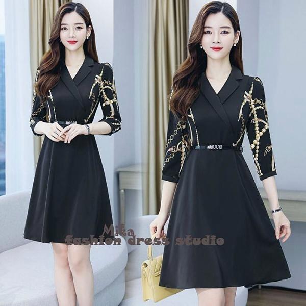 洋裝 長袖連身裙新款闊太太優雅收腰遮肚遮肉連身裙(M-3XL) 依二衣