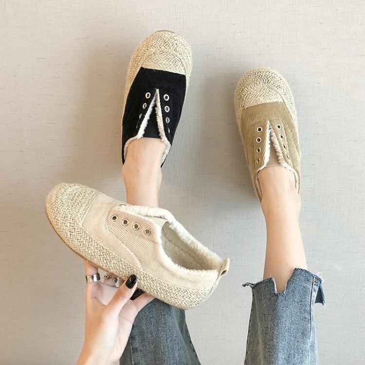 帆布鞋系列 2020秋冬新款帆布厚底草編漁夫鞋女休閒百搭加絨毛毛鞋小白鞋女
