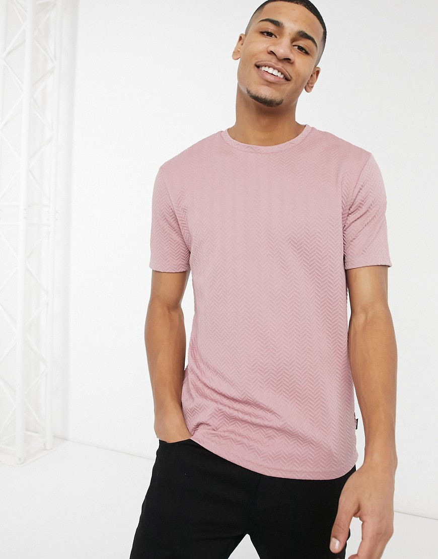 River Island chevron print slim fit t-shirt in pink