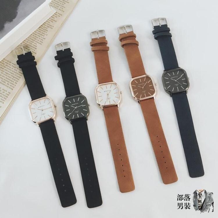 男錶 小眾青少年手錶男中學生潮流韓版個性方形皮帶簡約石英錶男錶