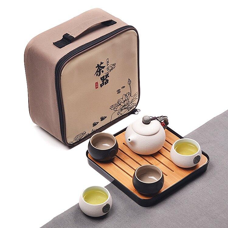 家用快客杯一壺二杯兩單人陶瓷簡易日式功夫旅行茶具套裝飄逸定制yh