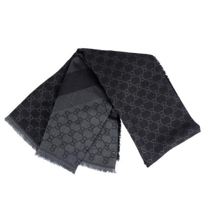 GUCCI 灰/鐵灰色雙色條紋羊毛混紡大方形圍巾披肩