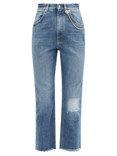 Givenchy - Chain-embellished Cropped Straight-leg Jeans - Womens - Blue