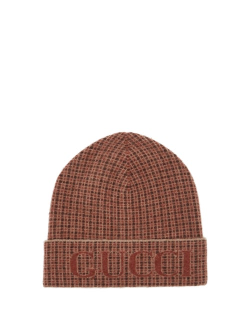 Gucci - Logo-jacquard Check Wool-blend Beanie - Mens - Beige