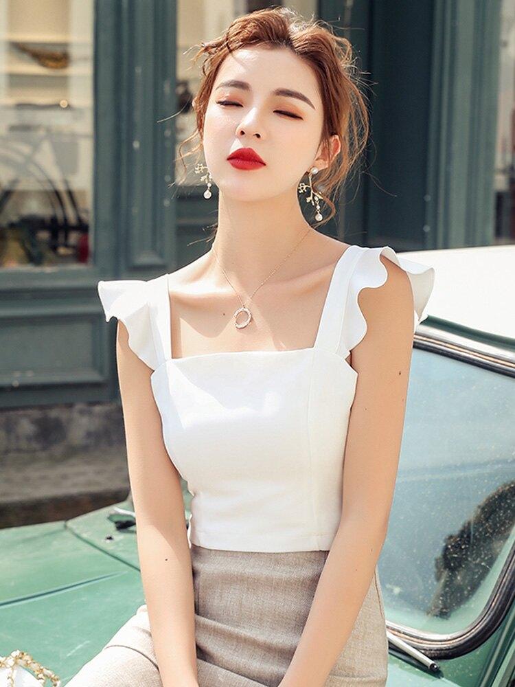2019夏季新款法式荷葉邊修身后拉鏈肩帶短款時尚吊帶上衣小背心女1入