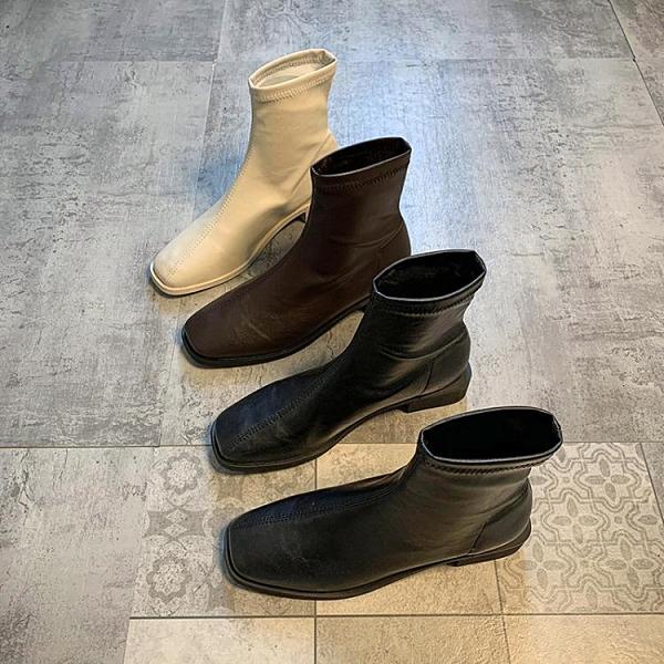 瘦瘦鞋小短靴新款韓版單靴加絨靴子秋冬季方頭馬丁靴女