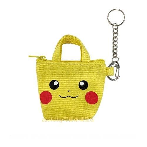 asdfkitty*寶可夢 神奇寶貝 皮卡丘迷你手提包造型帆布零錢包附鑰匙圈-掛飾.收納包-日本正版商品
