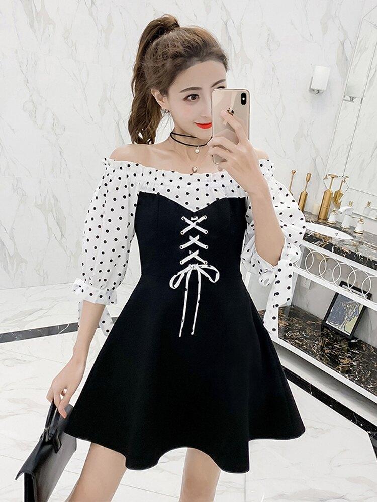 2019流行裙子夏裝新款波點一字肩泡泡袖拼接高腰系帶氣質連衣裙女1入