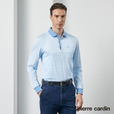 Pierre Cardin皮爾卡登 男裝 印花長袖POLO衫-水藍色(5205260-35)