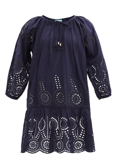 Melissa Odabash - Ashley Broderie-anglaise Cotton Minidress - Womens - Navy