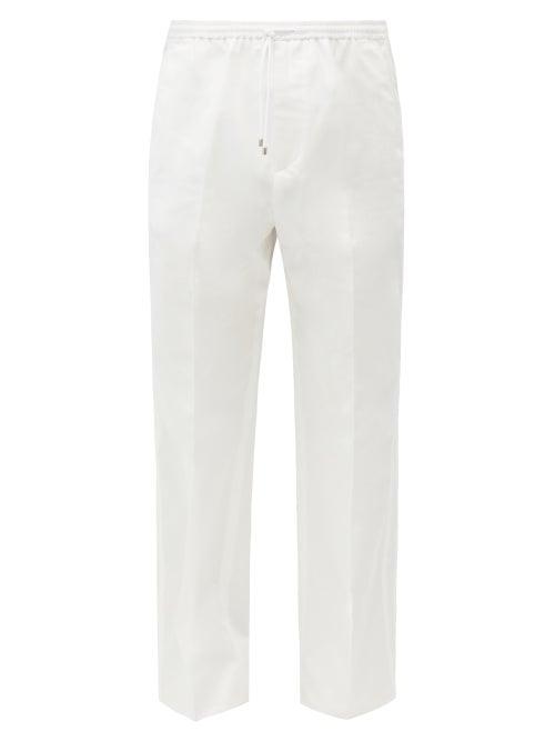 Valentino - Side-striped Cotton-gabardine Trousers - Mens - White