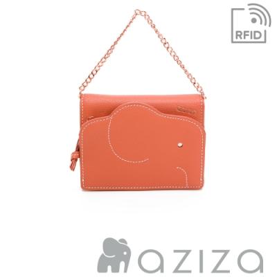 aziza 可拆式鍊帶短夾 珊瑚紅