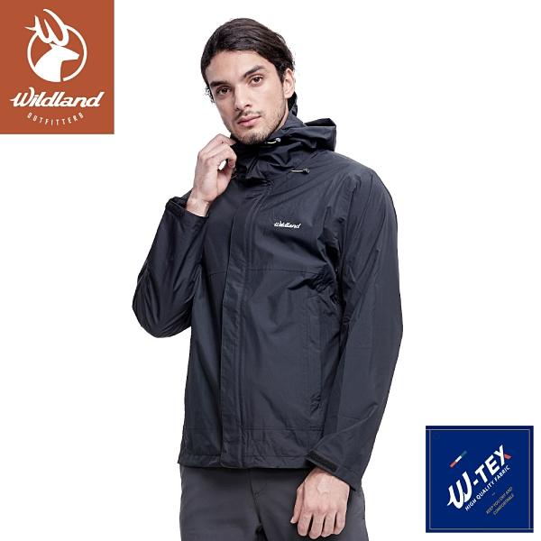 【Wildland 荒野 男 輕薄防水高透氣機能外套《黑》】W3916/連帽外套/風衣/衝鋒外套