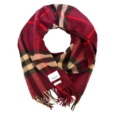 BURBERRY 經典格紋羊絨流蘇圍巾(莓紅x卡其)