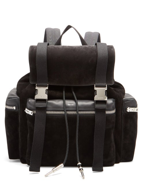 Amiri - Canvas-trimmed Suede Backpack - Mens - Black