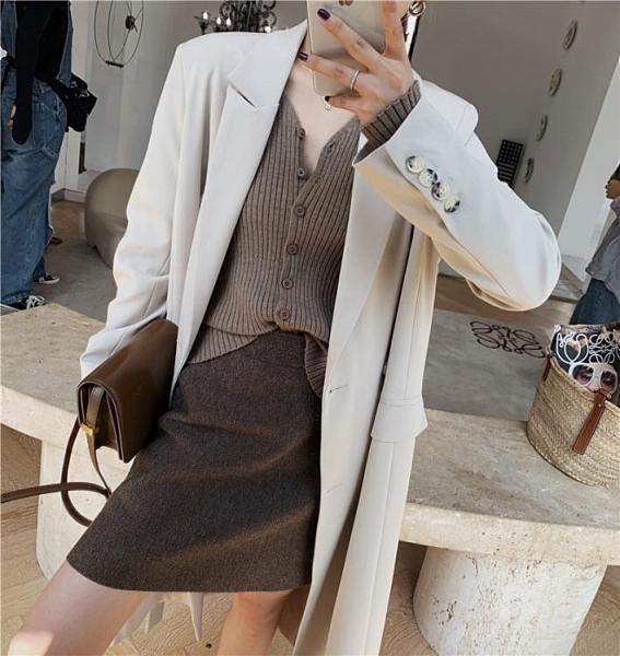 chic秋冬洋氣內搭打底衫上衣韓版寬鬆外穿針織開衫加厚毛衣外套女