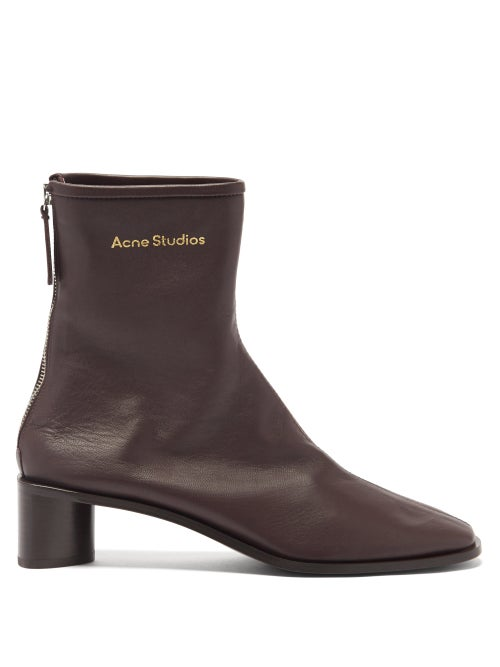 Acne Studios - Bertine Back-zip Stretch-leather Ankle Boots - Womens - Dark Brown