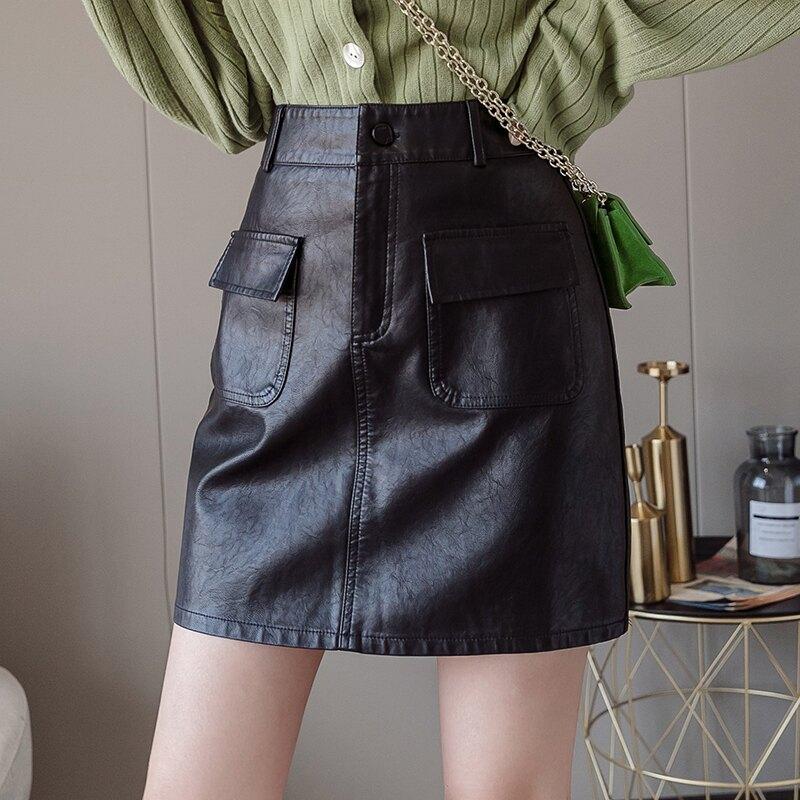 黑色半身裙小皮裙高腰a字裙2019秋冬新款顯瘦氣質包臀裙子女短裙1入