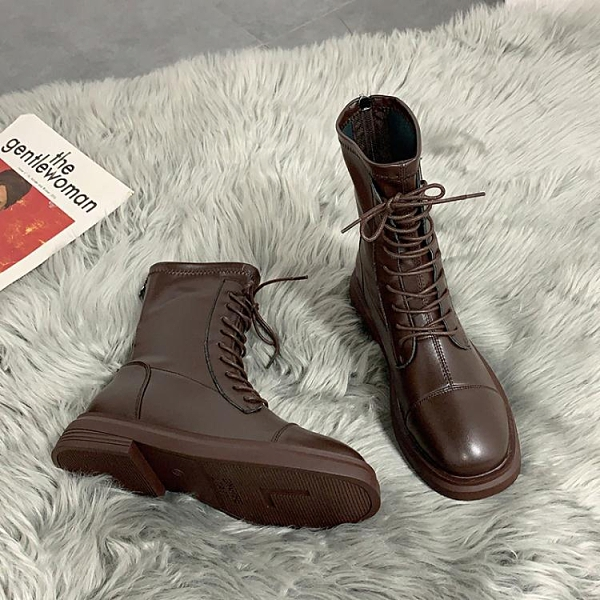 方頭瘦瘦靴炸街單靴春秋冬新款馬丁靴女英倫風短靴騎士靴子