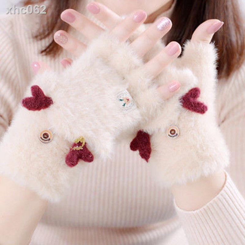 【現貨】◕✚△手套女冬天加厚保暖半指可愛韓版百搭卡通潮ins加絨學生網紅手套特賣場