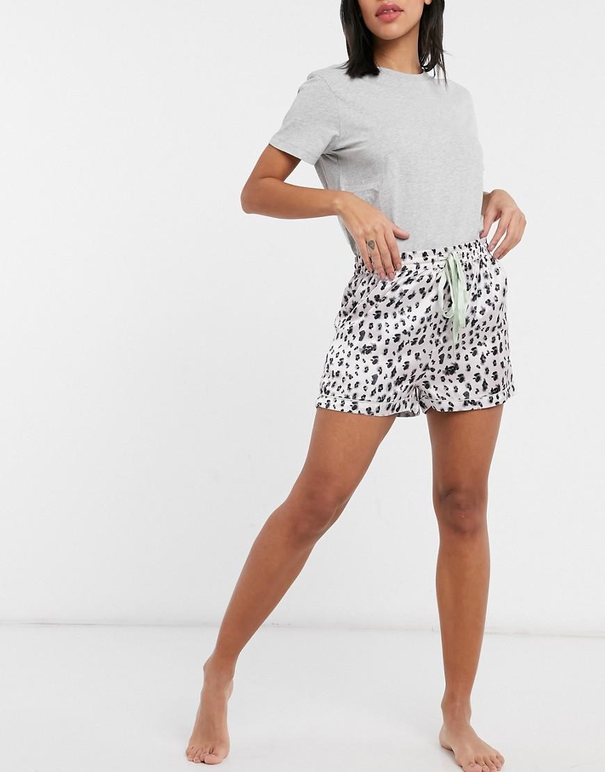 Liquorish nightwear pyjama shorts in mono leopard with sage trim-Multi
