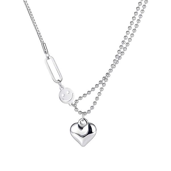 【5折超值價】鈦鋼項鍊愛心笑臉雙鏈條設計造型時尚精美項鍊