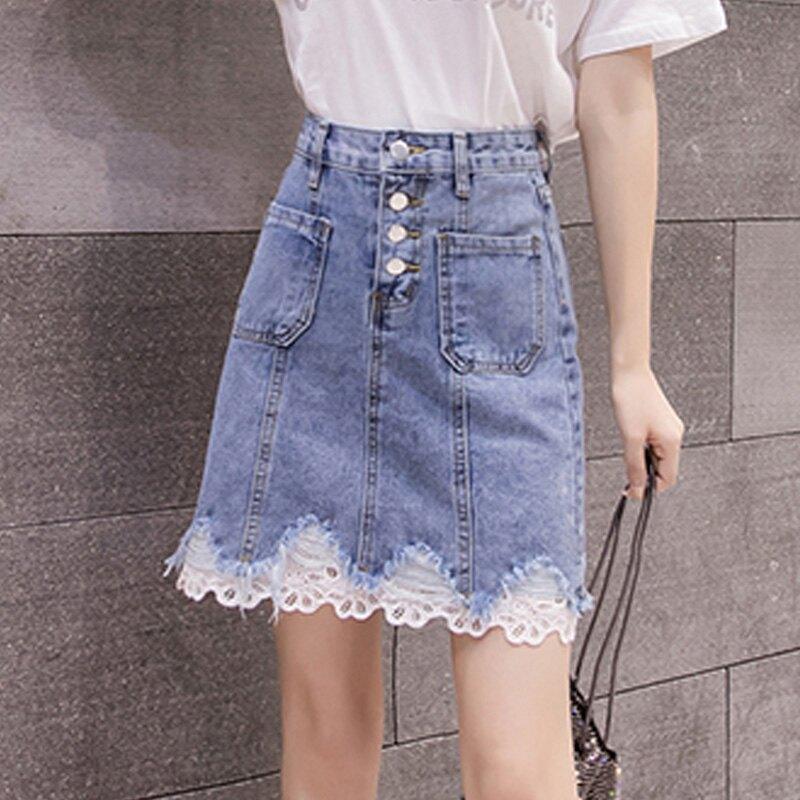 2020春裝新款韓版牛仔拼接花邊蕾絲半身裙女高腰顯瘦a字裙包臀裙1入