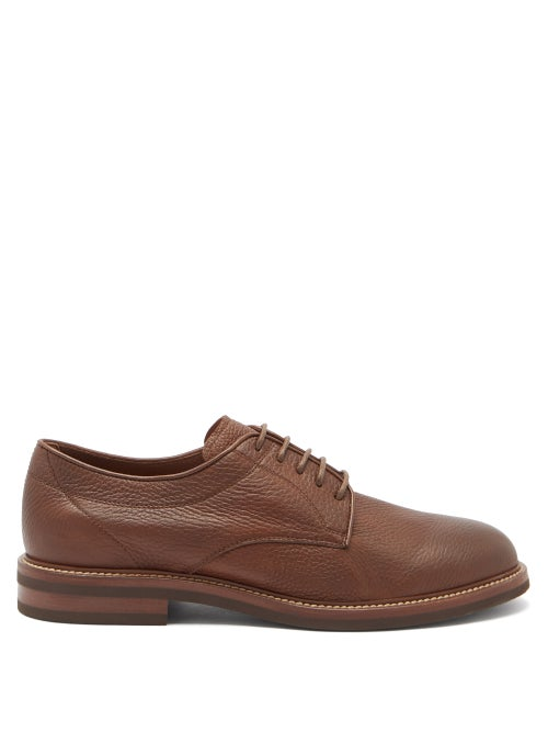 Brunello Cucinelli - Leather Derby Shoes - Mens - Brown