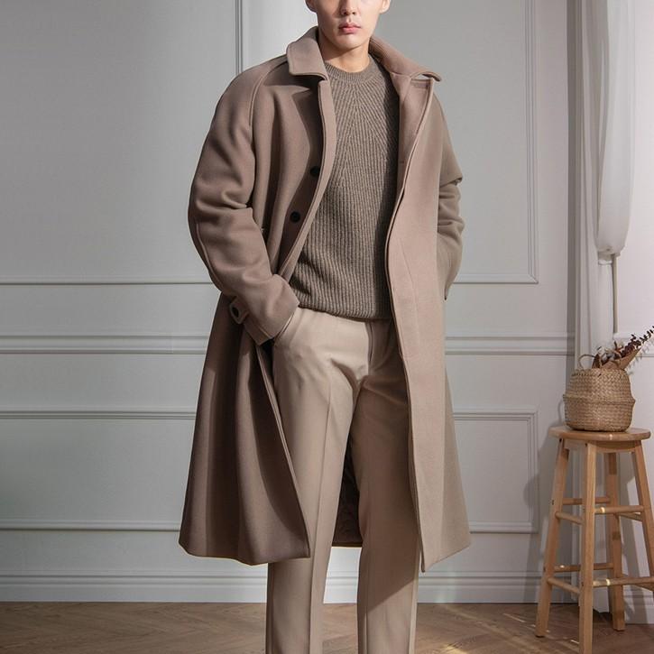 正韓高級毛呢 中長版大衣外套 隱藏扣 無肩線 內鋪棉 卡其色 YUPPIE 現貨出清