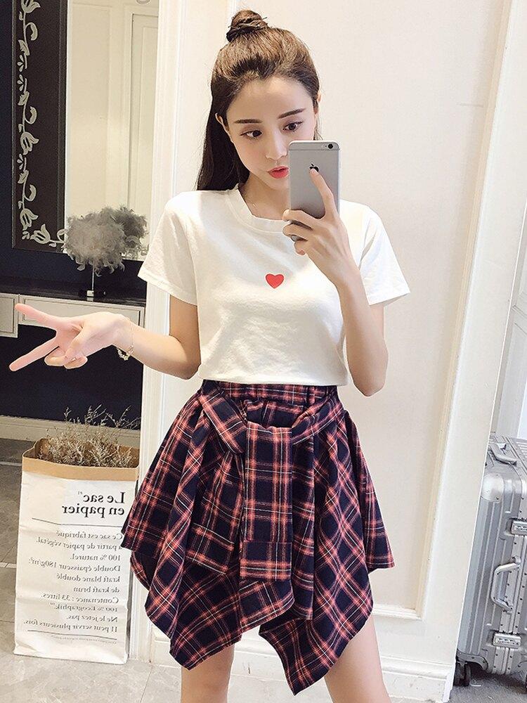裙子女2019新款夏裝韓版小個子短裙初中學生小清新兩件套裝連衣裙1入