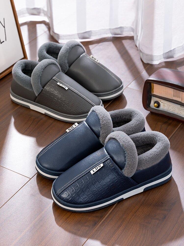 男士棉拖鞋冬天包跟厚底家居防滑皮面棉鞋家用防水保暖秋冬季拖鞋