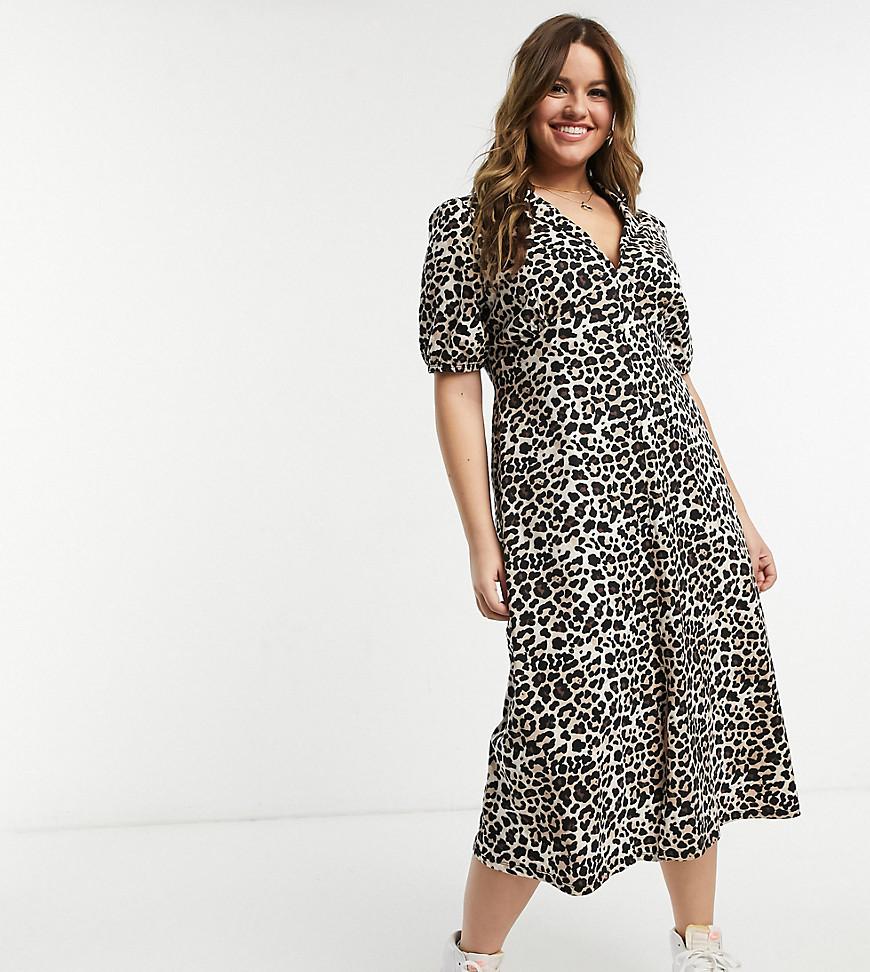 ASOS DESIGN Curve ultimate midi tea dress in leopard print-Multi