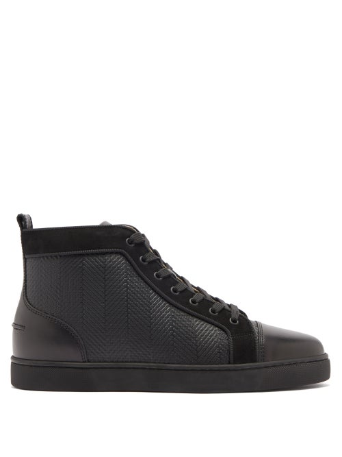 Christian Louboutin - Louis High-top Chevron-panel Leather Trainers - Mens - Black