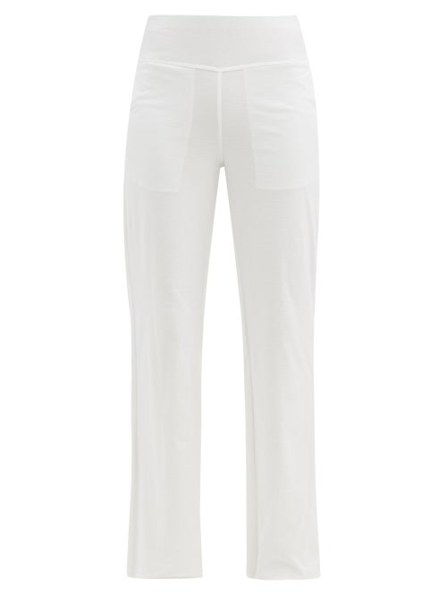 Lunya - Cool High-rise Cotton-blend Jersey Trousers - Womens - White