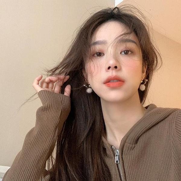 秋冬白色毛球耳環韓國氣質網紅高級感耳圈耳釘個性設計感女耳飾