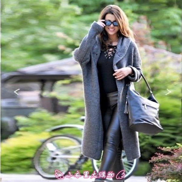 針織外套 秋冬新款時尚熱賣寬鬆針織開衫大碼毛衣連帽中長款外套女 - 小衣里大購物