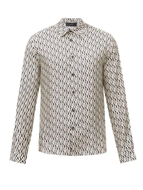 Amiri - Logo-print Silk-twill Shirt - Mens - Black White