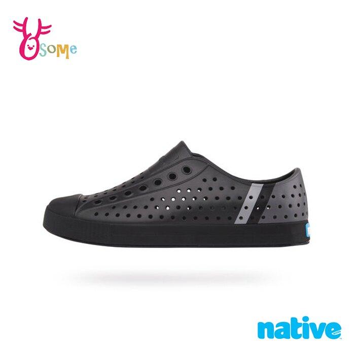 native水鞋 男鞋 奶油頭 洞洞鞋 休閒鞋 懶人鞋 JEFFERSON BLOCK M9409#黑色◆OSOME奧森鞋業