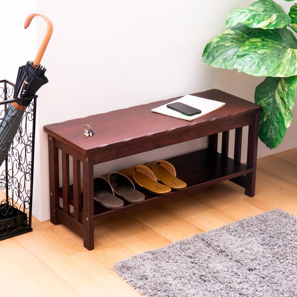 as-胡桃色2.8尺坐鞋架/穿鞋椅diy-85x30x39cm