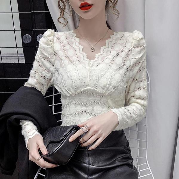 年前特銷 秋冬季新款百搭洋氣泡泡袖v領長袖蕾絲衫上衣內搭打底衫女裝