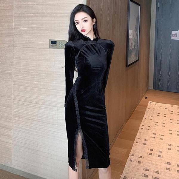 年前特銷 名媛氣質連衣裙年新款秋冬季中長款黑色金絲絨旗袍裙子女裝潮