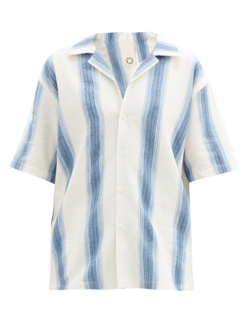 Marrakshi Life - Gradient-stripe Cotton-blend Short-sleeved Shirt - Womens - Blue Stripe